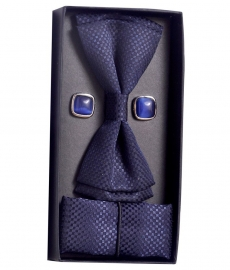 Posto Blue Casual Elite Bow, Cufflinks And Pocket Square