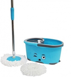 Smiley Stainless Stell Spin Mop & Bucket Magic 360 Degree Cleaning With 2 Mirofiber Refills (color May Very)