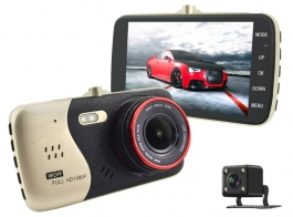 Full Hd Car Dash Camera Dual Recording Car Video Recorder 4 Inch Ips Screen With Rear Camera