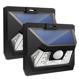 Aes 10 Led Wide Angle Solar Wall Light With Motion Sensor (set Of 2)