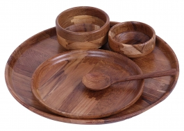 Mannbhav Wooden Dinnerware Set, 5-piece, Brown