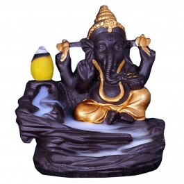 Ganesha Smoke Fountain Incense Burner / Lord Ganesh Ji Smoke Backflow Cone Incense Holder / Decorative Showpiece Idol Incense Fountain Statue With Free 10 Back Flow Incense Cones