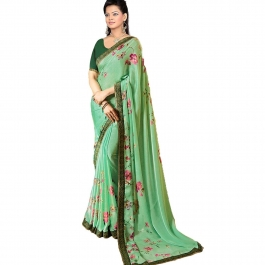 Bollywood Designer Green Colour Saree With Blouse Piece
