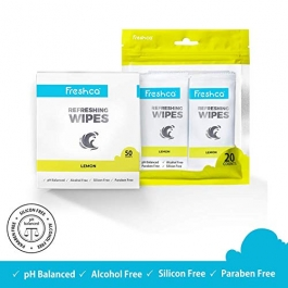 Freshca Refreshing Wet Wipes Lemon Box Zip