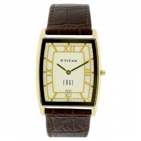 Titan Edge Leather Strap Analog With Date (1684yl01)