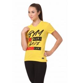 Crush Fitness Women Cotton Gym Ki Nari Yellow  T-shirt
