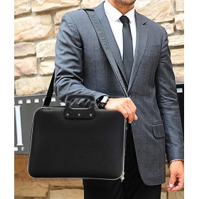 Black Pu Leather Laptop Bag
