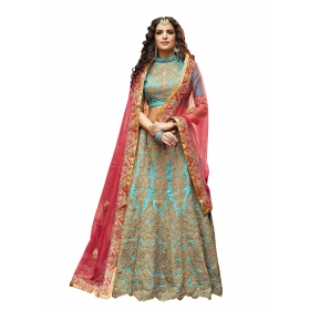 Fashion Care Blue Colored Pure Silk Lehenga.