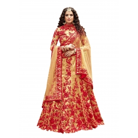 Fashion Care Golden Colored Pure Silk Lehenga
