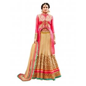 Fashion Care Beige Color Net Lehenga