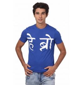 Crush Fitness Men's Cotton Hey Bro Blue T-shirt