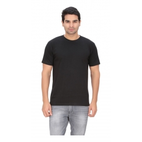 Imago Solid Men's Round Neck Black T-shirt