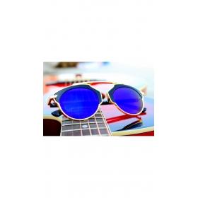 Xforia Eyewear New Arrival Gold Frame Aviator Blue Sunglasses Round Goggles