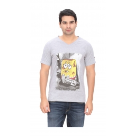 Imago Printed Men's V-neck Grey T-shirt