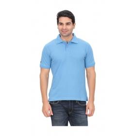 Imago Solid Men's Polo Neck Blue T-shirt