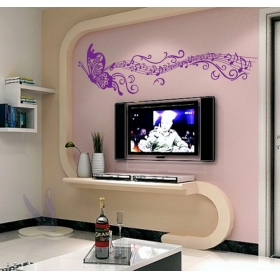 Cc6913 Music Butterfly Violet Colour Modern Wall Sticker  Jaamso Royals