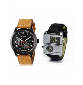 New Fashion Leather Strap Mens Watch Buy 1 Get 1 Free