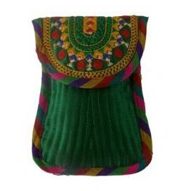 Handicraft Kutchi Green Mobile Purse