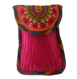 Handicraft Kutchi Pink Mobile Purse
