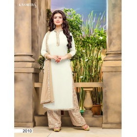 Faux Georgette With Mirror Work Designer Party Wear Unstitched Salwar Kameez &8211; 2010