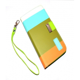 Leather Designer Stripe Flip Wallet Case Cover For Samsung Galaxy Grand Duos 2 G7106