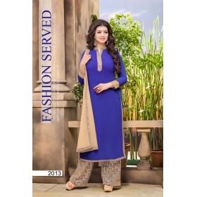 Faux Georgette With Mirror Work Designer Party Wear Unstitched Salwar Kameez &8211; 2013