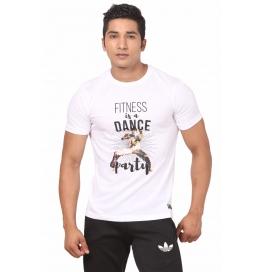 Crush Fitness Men's Cotton Dance Party White T-shirt