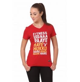 Crush Fitness Women Cotton Haye Hukku Red T-shirt