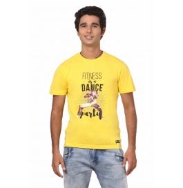 Crush Fitness Men's Cotton Dance Party Yellow T-shirt