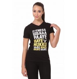 Crush Fitness Women Cotton Haye Hukku Black T-shirt