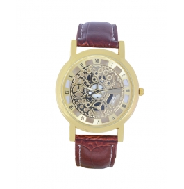 Men Imported Transparent Analog Watch -brown Gold