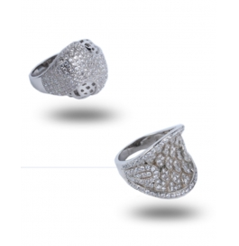 Pure Silver Base Diamond Ring With Platinum Polish For Women Combo