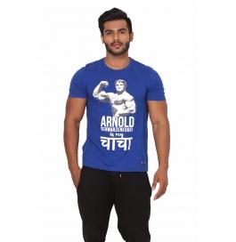Crush Fitness Men's Cotton Arnold Blue T-shirt