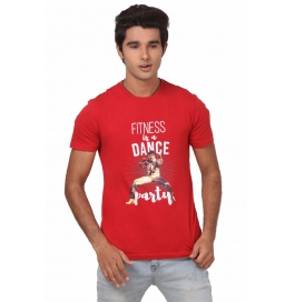 Crush Fitness Men's Cotton Dance Party Red T-shirt