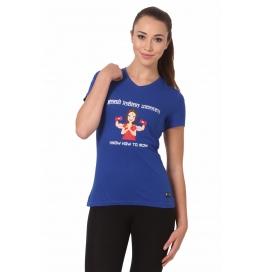 Crush Fitness Women Cotton Good Indian Women Blue T-shirt