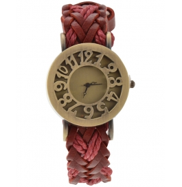 Festival Offer Red Leather Belt Vintage Stylish Women Analog Watch