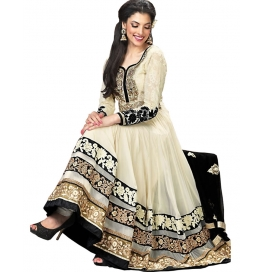 Cream Color Suit With Bottom And Dupatta