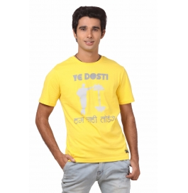 Crush Fitness Men's Cotton Ye Dosti Yellow T-shirt