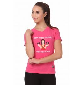 Crush Fitness Women Cotton Good Indian Women Pink T-shirt