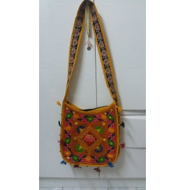 Handicraft Kutchi Yellow Sling Bags