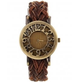Festival Offer Brown Leather Belt Vintage Stylish Women Analog Watch