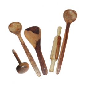 Desi Karigar Wooden 3 Ladles, 1 Masher & 1 Rolling Pin