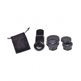 3 In 1 Lens Kit Clip-on Fish-eye + Wide Angle + Macro Lens Set For All Mobile Phone