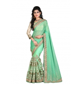 Sas Creations Primo Georgette Green Saree