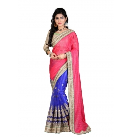 Sas Creations Georgette Pink Saree