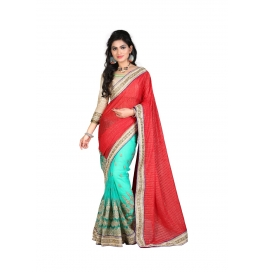 Sas Creations Georgette Red Saree