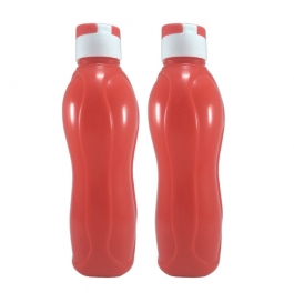Jimit Fliptop 1000 Ml Plastic Bottle (pack Of 2, Red)
