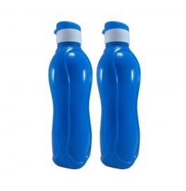 Jimit Fliptop 1000 Ml Plastic Bottle (pack Of 2, Blue)