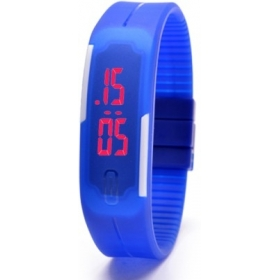 Fashion Sport Blue Led Adjustable Silicone Strap Digital Unisex Watch