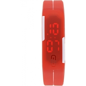 Fashion Sporty Red Led Adjustable Silicone Strap Digital Unisex Watch